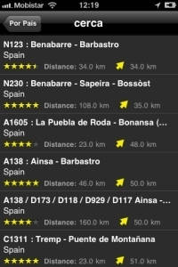Moto iPhone App rutas captura de pantalla3